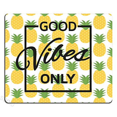 (Good Vibes Only Pineapple Motivational Sign Inspirational Quote Mouse Pad Personalized Gaming Mouse mat)