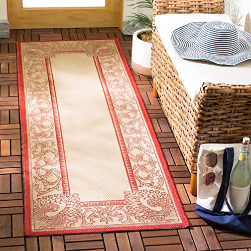 Safavieh Courtyard Collection CY2965-3701 Natural and Red Indoor/ Outdoor Runner (2'3