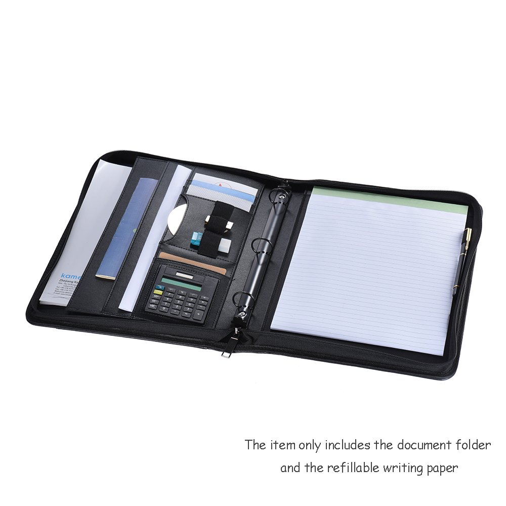Aibecy Multifunctional Professional Business Zippered Portfolio Padfolio Folder Document Case Organizer A4 PU Leather with Calculator Business Card Holder Memo Note Pad