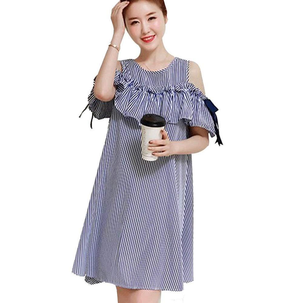bluee bar Dress Dress, Summer Dress Female Fat Mm Dress Long Korean Version of The OffTheShoulder Skirt 100 Kg (color   bluee bar, Size   XXXL)