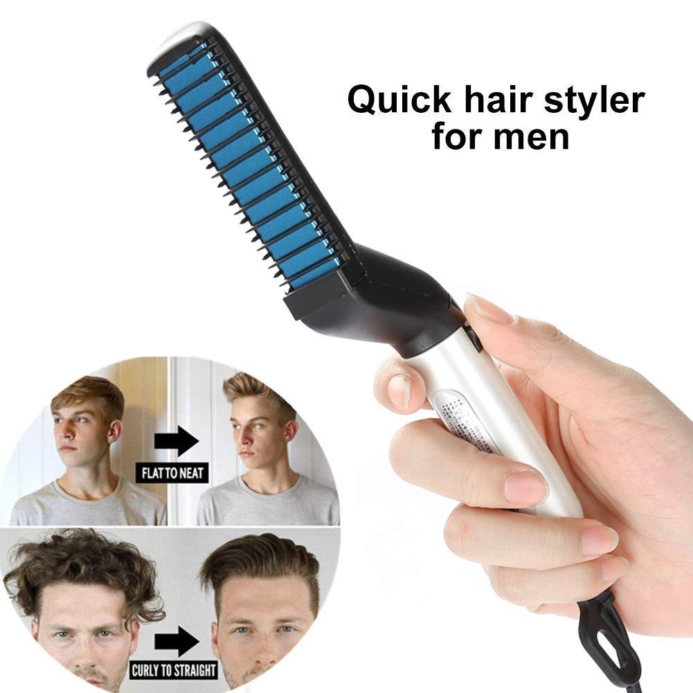 Sunvito Electric Hair Comb,Quick Beard Straightener Comb,Multifunctional Quick Curling Curler Straightener Comb for Men
