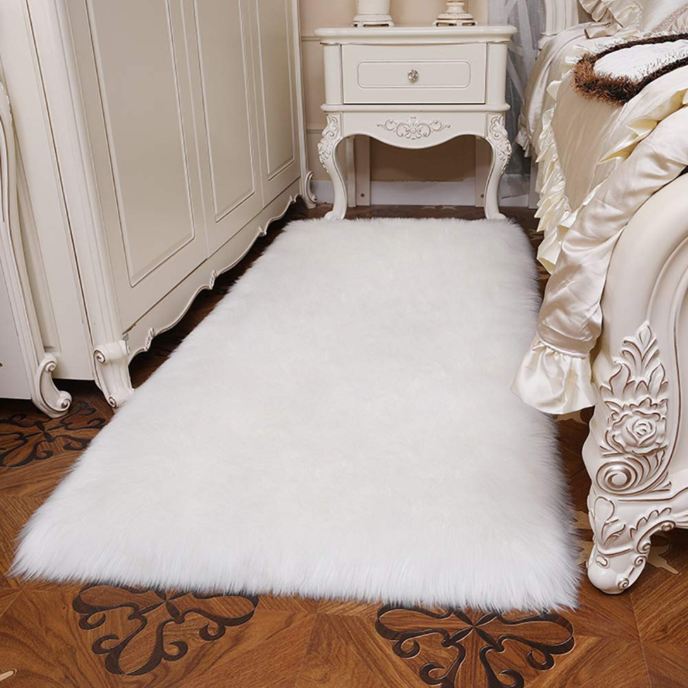 Gwl modern fluffy faux sheepskin fur area rug for bedroom living room plush carpet floor home decor 3 x 5 white home kitchen