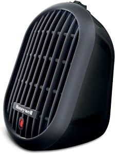 Honeywell HCE100B Bud Ceramic Black Energy Efficient Space Saving Portable Personal Heater with 2 Heat Settings for Home, School, Office