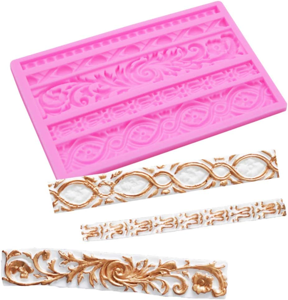 DIY Baroque Style Curlicues Scroll Relief Cake Border Silicone Mold European Frame Decor Tool Flower Lace Mould Mat Baking Chocolate Gumpaste Fondant Brim Fimo Clay Kitchen