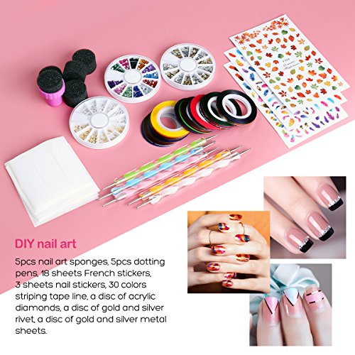 Etereauty Nail Art Kit With 18 Tape Line Nail Stickers 30 Rolls
