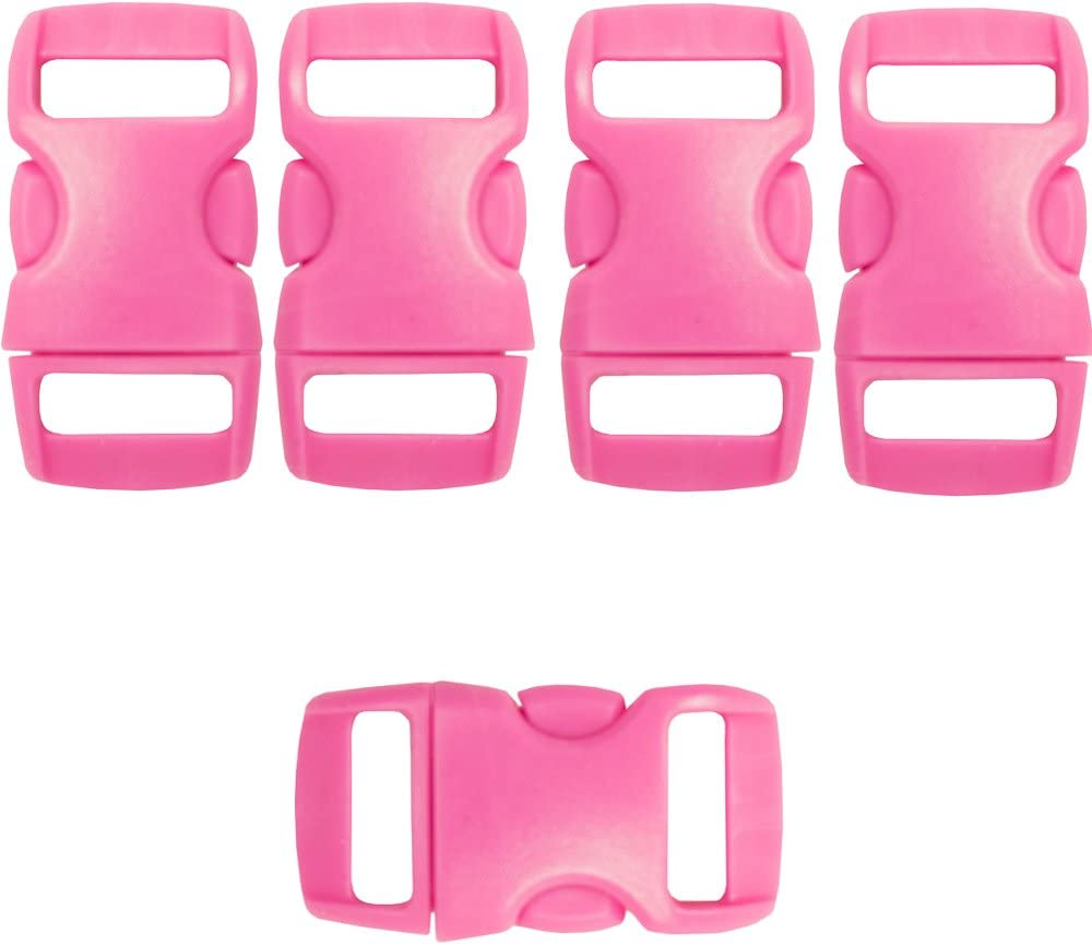 Craft County 3//8 Buckles Curved Art Projects and More! 10 Pack, Hot Pink Side Release Great for Crafting Contoured Plastic Buckles