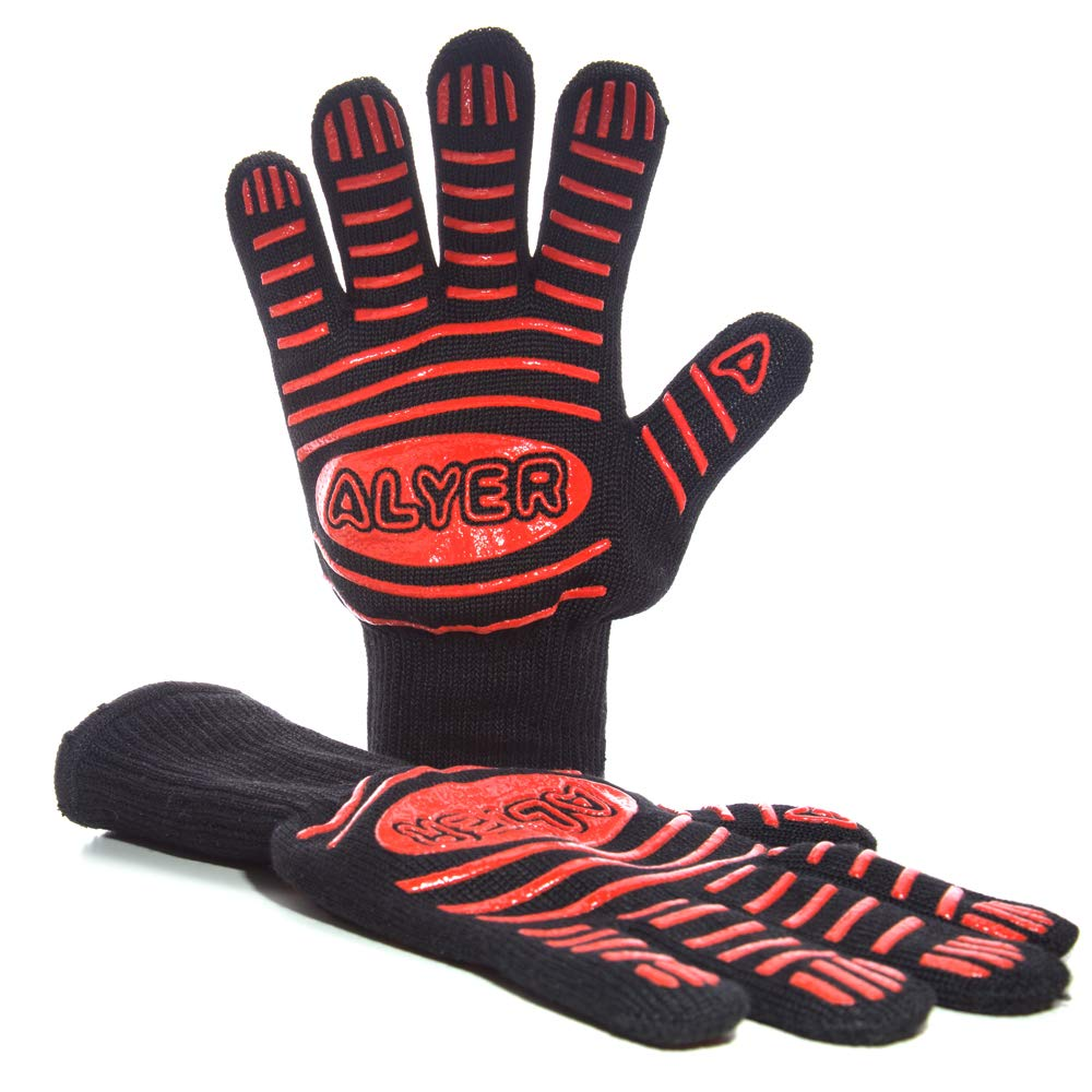 ALYER Premium Grilling Baking Gloves,932°F Extreme Heat Resistant Cooking Gloves,Flexible Fingered Oven Mitts,Red