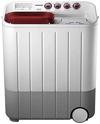 Samsung 6.5 kg Semi-Automatic 5 Star Top Loading Washing Machine (WT667QPNDPGXTL, White and Maroon, Double Storm Pulsator)
