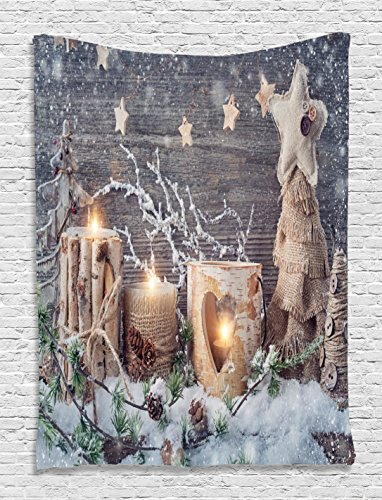 Holiday Tapestry - Ambesonne Christmas Tapestry, Candle Winter Holiday Themed Arrangement with Snow and Fir Tree Leaves Print, Wall Hanging for Bedroom Living Room Dorm Decor, 40