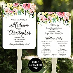 Wedding Program Fans Floral Bouquet