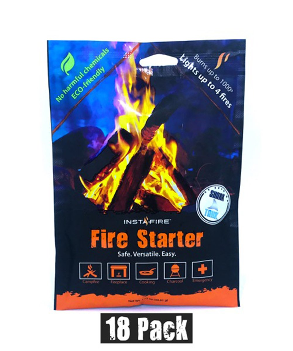 Instafire Granulated Fire Starter, All Natural, Eco-Friendly, Lights up to 72 Total Fires in Any Weather, Awarded 2017 Fire Starter of The Year, 18 Pk by Instafire