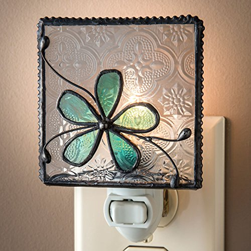 J Devlin NTL 129-3 Stained Glass Aqua Blue Flower Night Light Stained Glass Three Light