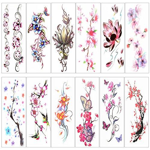 YORY 12 PACK flower temporary tattoos for Women kids girls - 12 Temporary Kids Tattoos