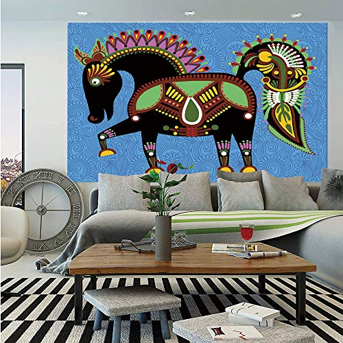 SoSung Ethnic Decor Wall Mural,Folkloric Horse Animal Figure with Tradition Ukraine Culture Ornament Boho Graphic,Self-Adhesive Large Wallpaper for Home Decor 83x120 ()