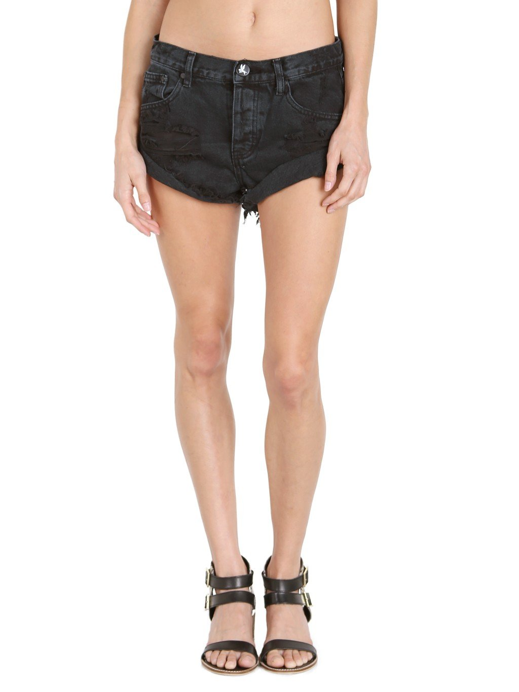 One Teaspoon Women's Fox Black Bandits Shorts, Fox Black, 25