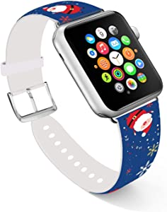 Ecute Compatible with Apple Watch Band 38mm 40mm, Soft Leather Band Strap Compatible with iWatch Series 6/5/4/3/2/1 - Cute Father Christmas
