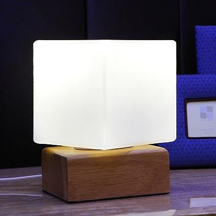 GJ-Lámpara de mesa de Cristal nórdico Dormitorio Luz de ...