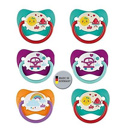 Nip Juego de chupete gr 2. Silicona 6 unidades Girls 5 – 18 Mo. Sin BPA fabricado en Alemania.