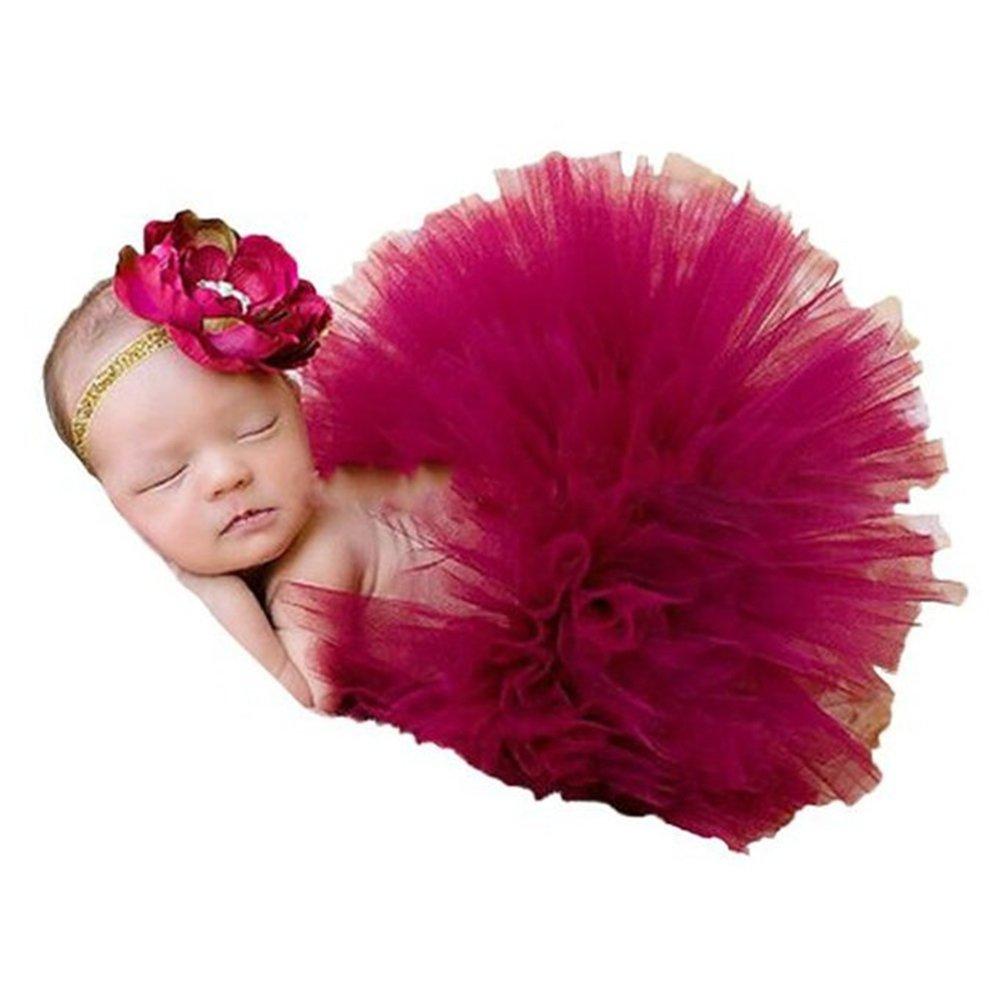 Newborn Baby Photography Prop Girl Flower Headband Cranberry Tutu Skirt