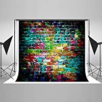 Kate 10x6.5ft Colorful Brick Wall Backdrop Graffiti Wall Photo Backgrounds Cotton Cloth No Wrinkle Seamless