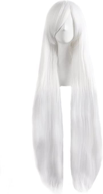 Mapofbeauty 40 Inches 100cm White Long Straight Cosplay Costume Wig Fashion Party Wig Amazon Co Uk Beauty