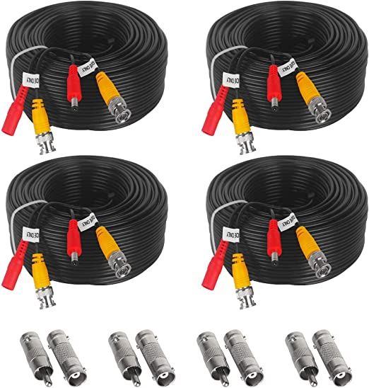 ABLEGRID 4 Pack 100ft bnc Video Power Cable Security Camera Cable Wire Cord fo..