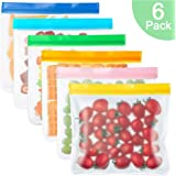 MMTX Reusable Sandwiches Bags 6 Pack Food Storage Bags Leakproof Resealable Freezer Bags Extra Thick Ziplock Lunch Bags for Food Snacks Fruits Make-up Travel Home Organization