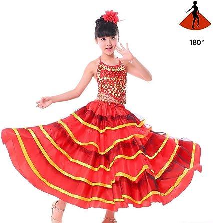 SMACO Traje de niña española Falda Larga de Flamenco roja Falda de ...