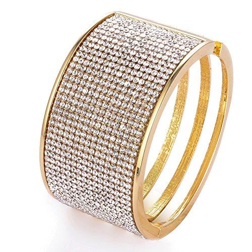 Wide Rhinestone Bangle Bracelets Beaded Hollow Gold Siver Bracelet for Women Girls (Gold)