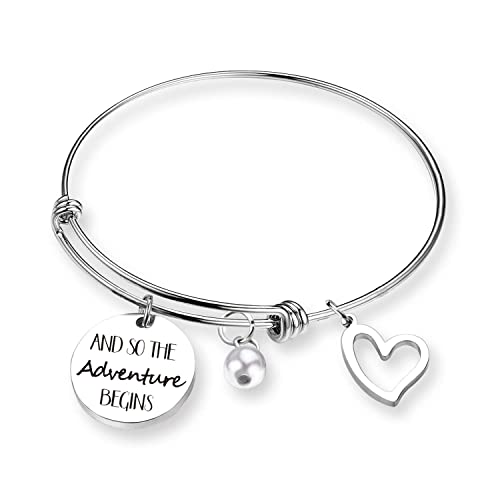 f505489a5940e ZNTINA and So The Adventure Begins Travel Bracelet Graduation Gift - Class  of 2018 2019 Gift Inspirational Bangle