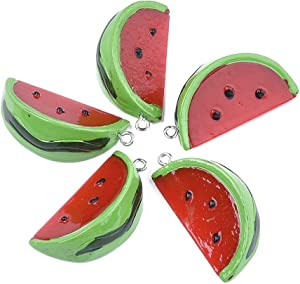 Beadthoven 10pcs Resin Watermelon Charm Pendants 38~39x19~19.5mm Red Fruit Hanging Dangle Ornaments Food Charms with Platinum Findings for DIY Bracelet Necklace Jewelry Crafts Making