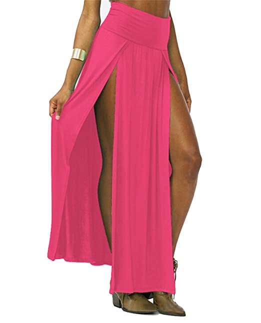 efe454ba89 YIPOST Women's Double Slits Maxi Skirt (One Size, Deep Pink) at Amazon  Women's Clothing store: