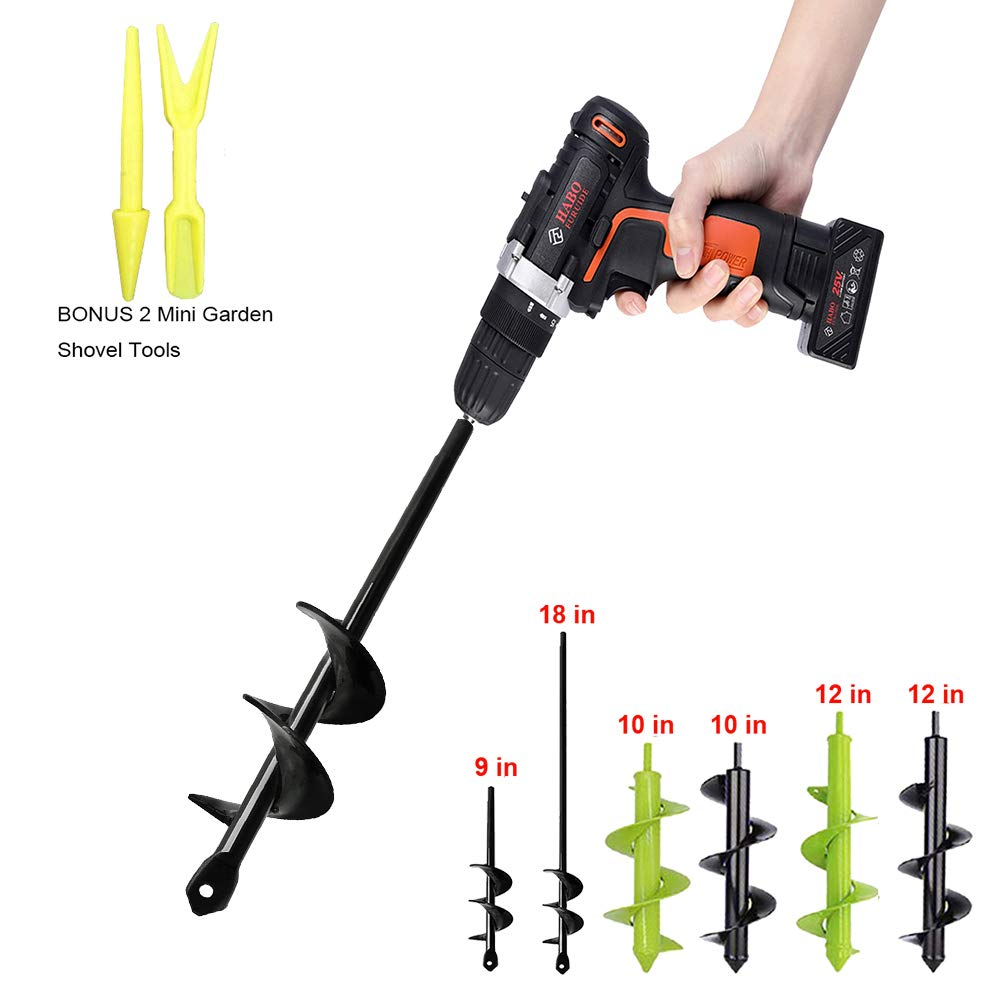 "Auger Drill Bit Garden Plant Flower Bulb Auger Rapid Planter Bulb & Bedding Plant Auger for 3/8"" Hex Drive Drill Earth Auger Drill Fence Post Umbrella Hole Digger (Black 1.8x14 in/4.6x35cm)"
