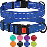 CollarDirect Reflective Dog Collar, Safety Nylon Collars Dogs Buckle, Outdoor Adjustable Puppy Collar Small Medium Large (Neck Fit 12″-16″, Blue) For Sale