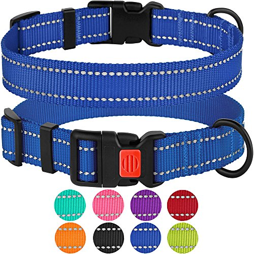CollarDirect Reflective Dog Collar,SafetyNylon Collars for Dogs with Buckle,Outdoor Adjustable Puppy Collar Small Medium Large (Neck Fit 14