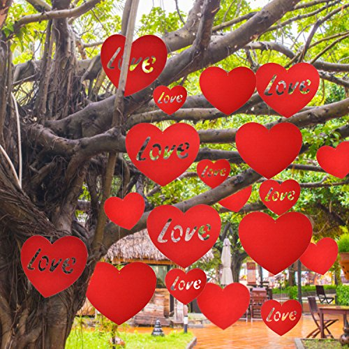 Price comparison product image Mtlee 20 Pieces Valentine's Day Hanging Hearts Lawn Decorations for Wedding and Party,  Red