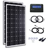 Komaes 200 Watts 12 Volts Monocrystalline Solar Starter Kit with 20A PWM Charge Controller + 20ft Tray Cable + 20ft MC4 Connectors + Mounting Z Brackets