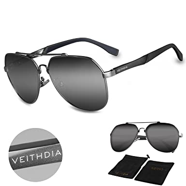 320d90e34bb VEITHDIA 3598 Adjustable HD Polarized Aviator Sunglasses for Fishing  Driving (Grey