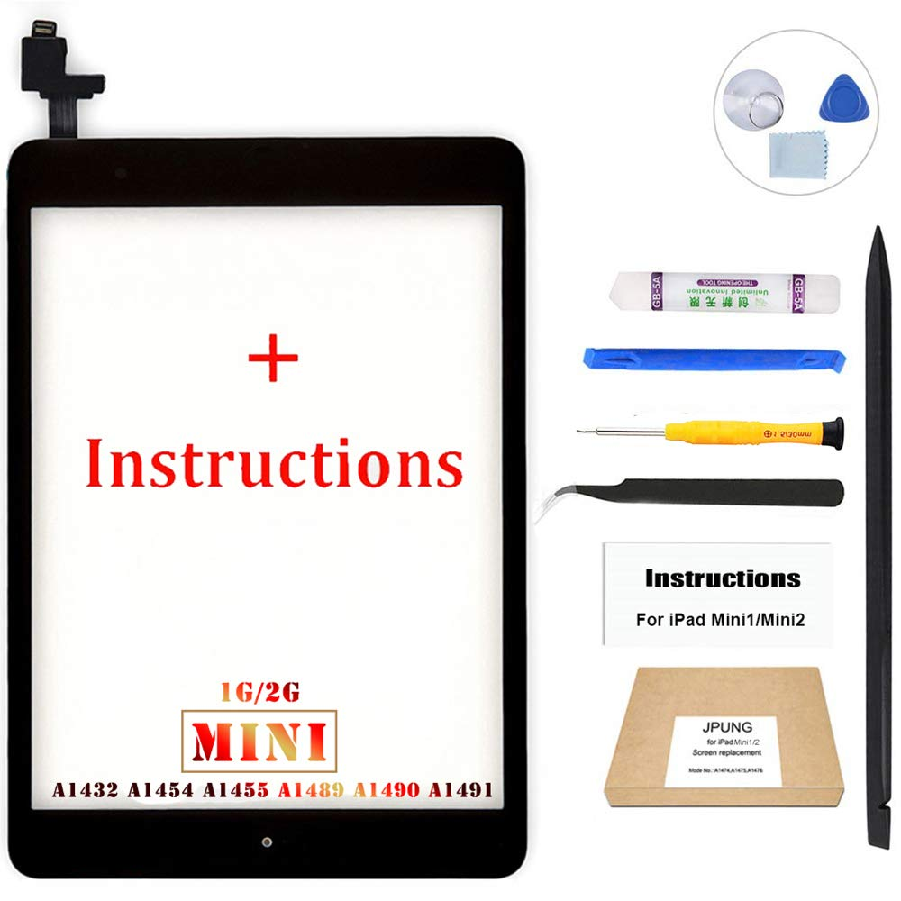 JPUNG Screen Replacement for iPad Mini 1/iPad Mini 2 (Black), with Home Button, Complete Repair Tools Kit, Camera Holder, Pre-Installed Adhesive Stickers, Instructions [365 Days Warranty]