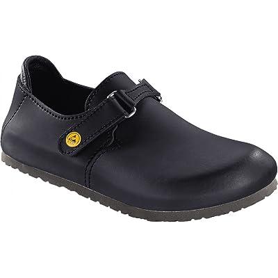Amazon.com | Birkenstock Linz Black Alpro Leather Sandals Narrow Width | Mules & Clogs