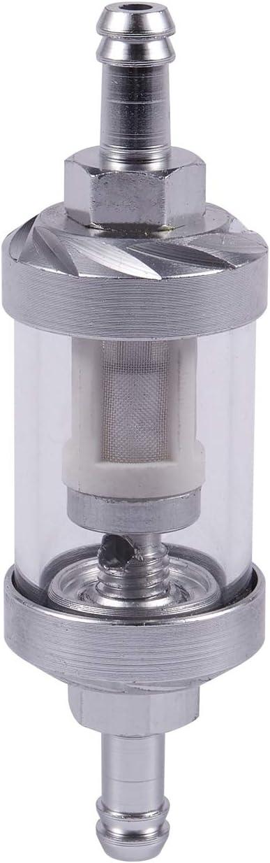 Fltaheroo Universal Chrome Glass Fuel Petrol Crude Oil Engine Inline Filter 5//168mm Silver
