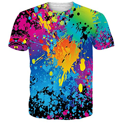Alistyle Creative 3D Graffiti Dye-Sublimation Printed Short Sleeve Graphic Men Women Unisex Couple Tees Top, Graffiti2, X-Large