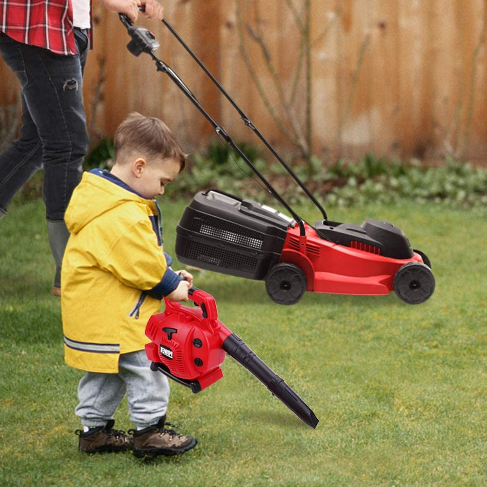 Kids Leaf Blower Toy Tool Set Boys Pretend Play Tools Outdoor Lawn Toy Real Blow Air for Boys and Girls