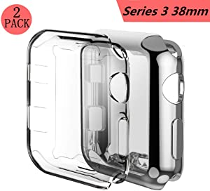 Apple Watch 3 Case, Smilelane iwatch Screen Protector Soft Flexible TPU All-Around Protective Case High Defination Clear Ultra-Thin Cover for Apple Watch Series 3 38mm (1 Silver + 1 Transparent)