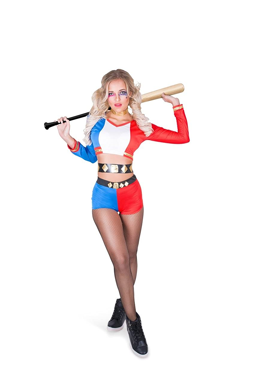 Sexy Harlequin Villain Costume - Halloween Super Rebel Girl, Red Blue