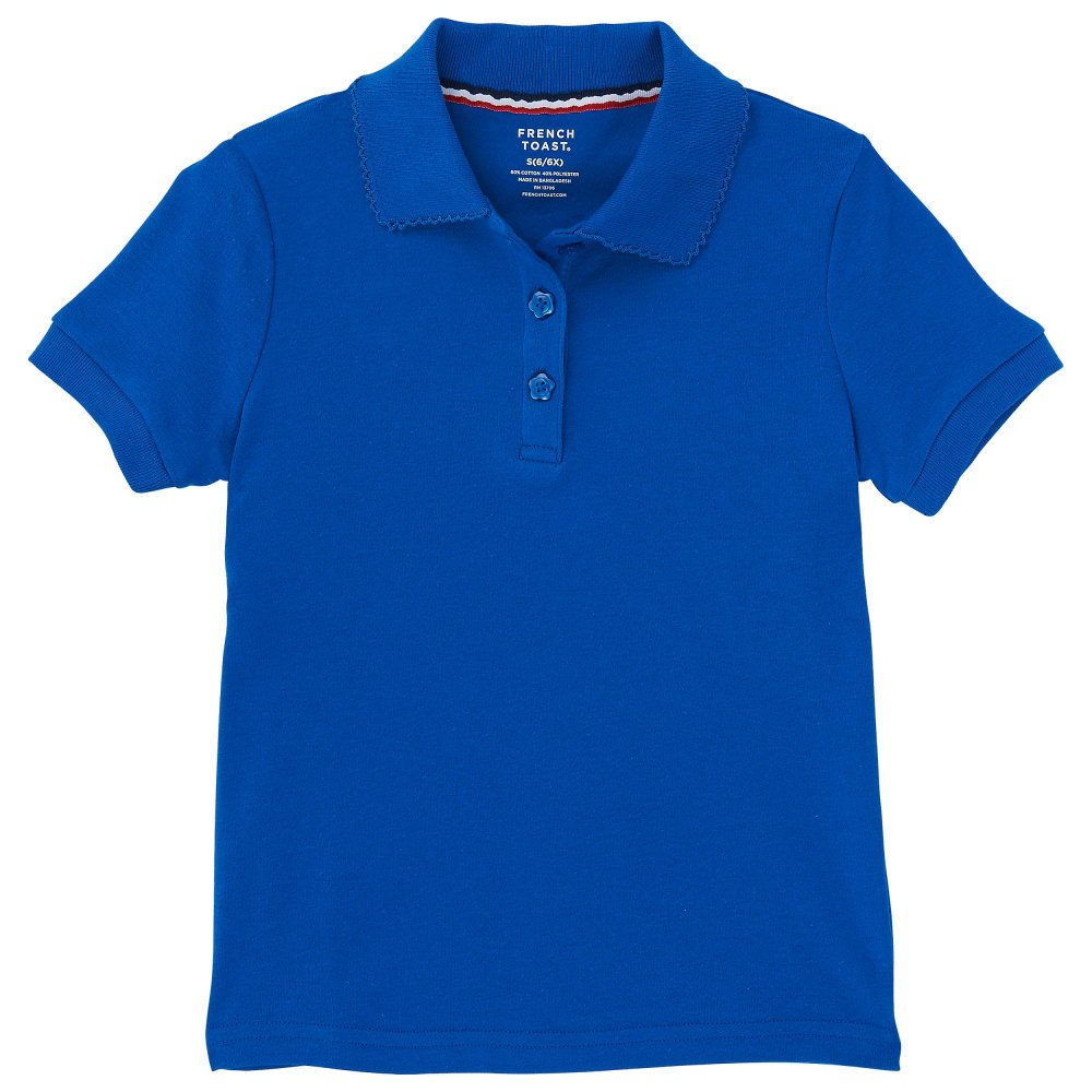 French Toast Girls' Short Sleeve Picot Collar Interlock Polo,