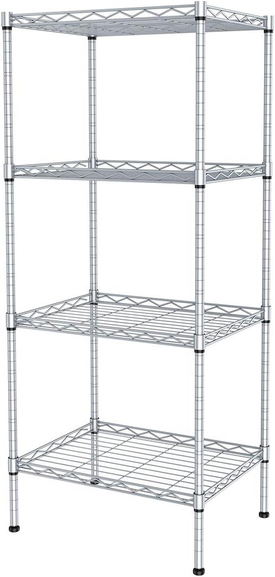 JS HOME 4-Tier Kitchen Storage Rack Wire Shelving Unit,13.78 W x 9.84 Dx 31.5H Inch - Silver