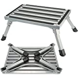NORDSD Steps Stool Folding Aluminum Stools with Non slip Surface Max Capacity Weight 39.3 Stone Open Height is 9 Inch for Indoor Bathroom Kitchen or Outdoor Caravan Motorhome Trailers SUV Use