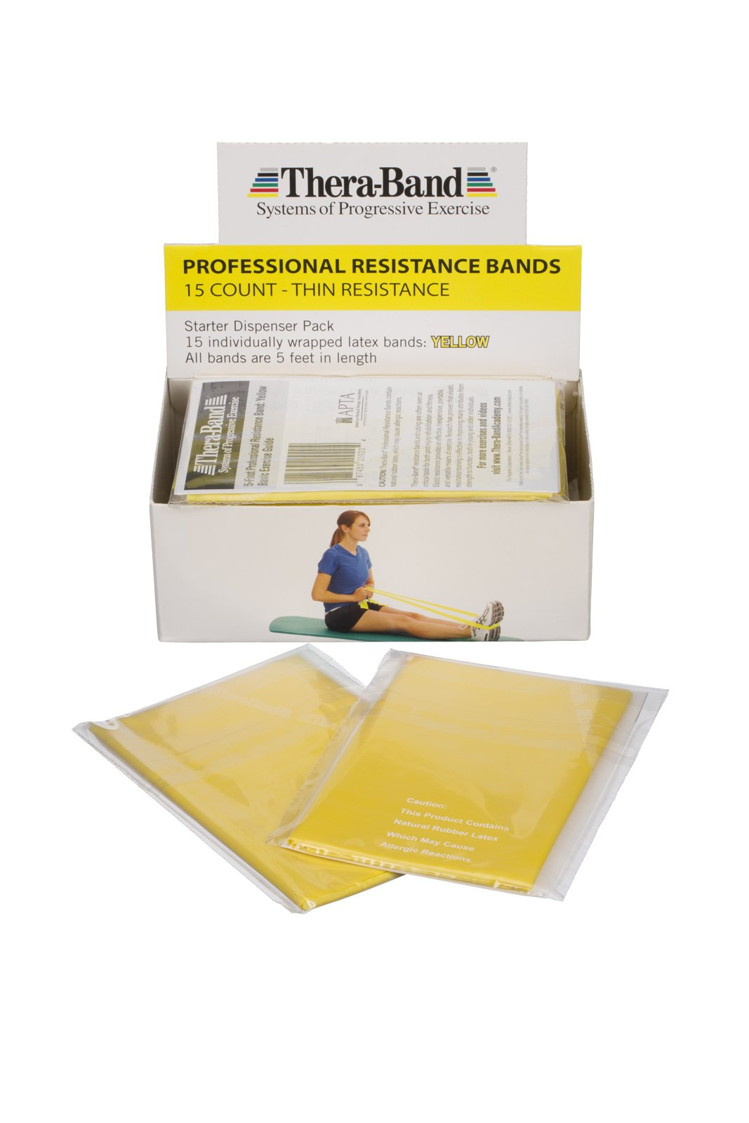 TheraBand Resistance Bands, 5 Foot, 15 Count Professional Latex Elastic Bands For Upper & Lower Body Exercise, Physical Therapy, Pilates, Home Workouts, Rehab, Yellow, Thin, Beginner Level 2