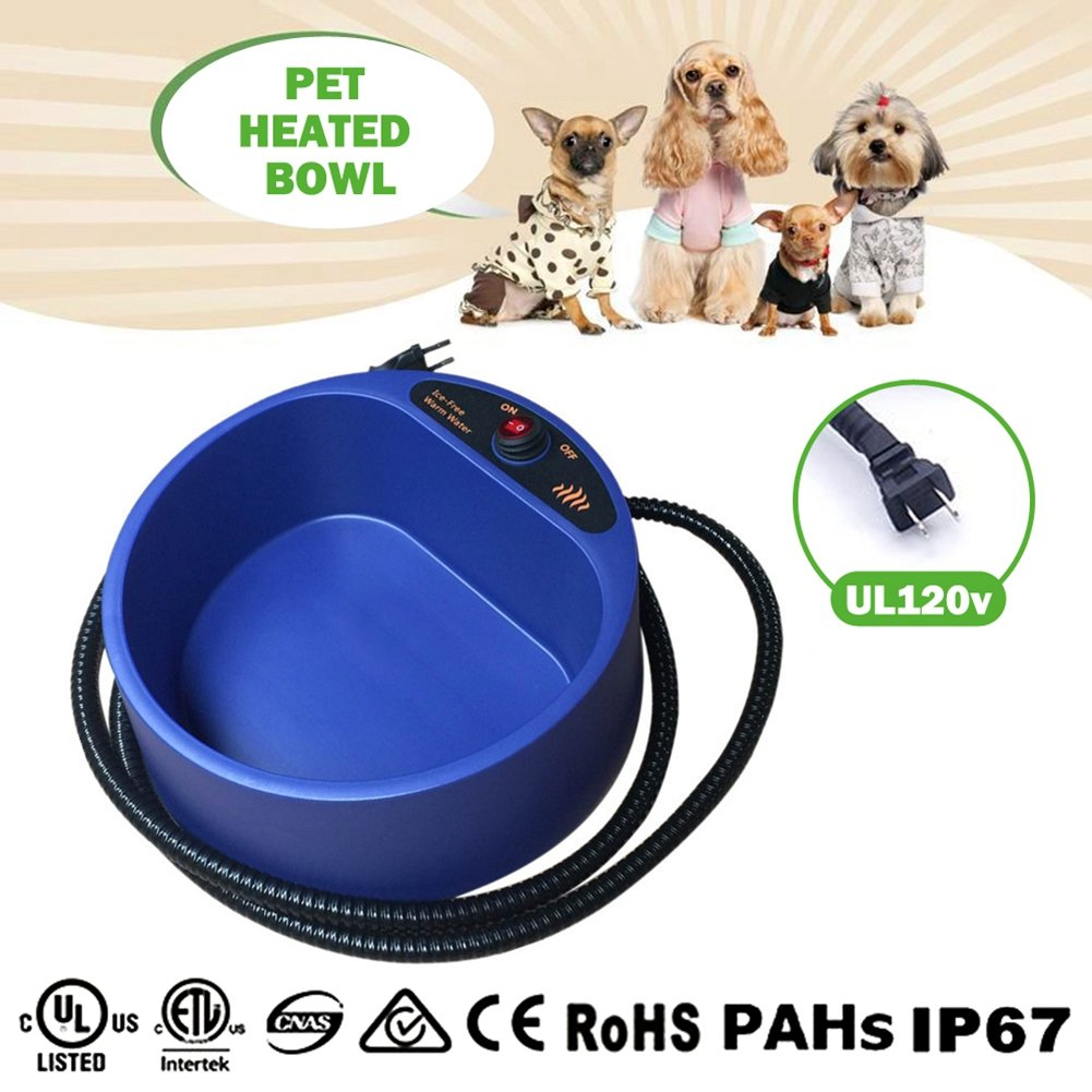 35 Watts Heated Dog Bowl - 1/2 Gallon/2L Large Heated Water Bowl for Dog With Auto Power-off Overheating Protection